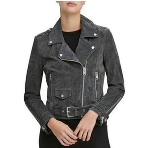 Andrew Marc Sabrina Suede Moto Jacket CHARCOAL